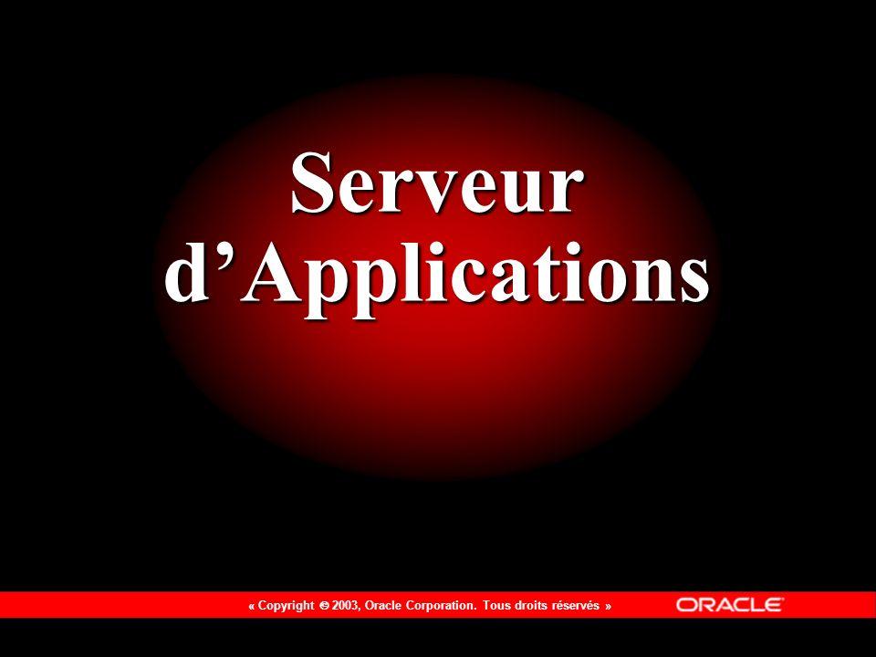 « Copyright 2003, Oracle Corporation. Tous droits réservés » Serveur dApplications