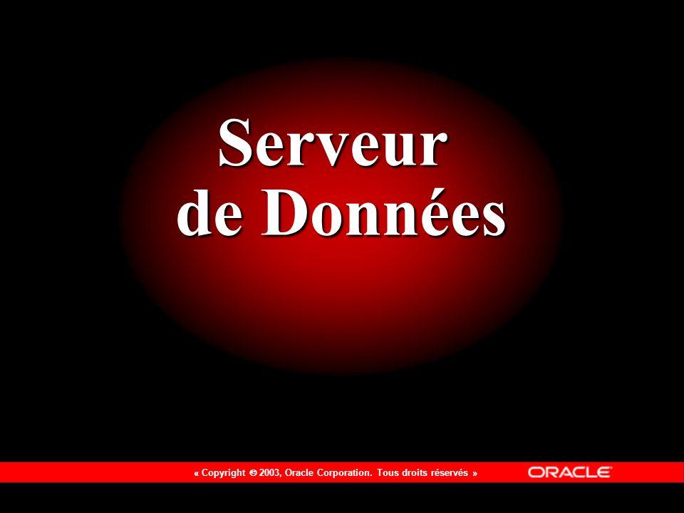 « Copyright 2003, Oracle Corporation. Tous droits réservés » Serveur de Données