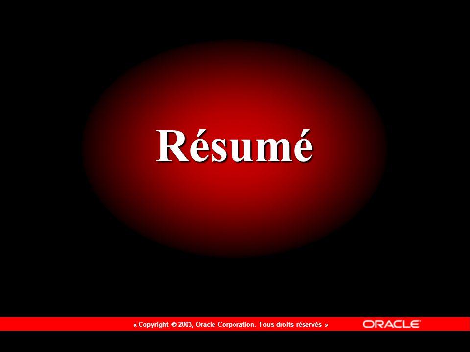« Copyright 2003, Oracle Corporation. Tous droits réservés » Résumé