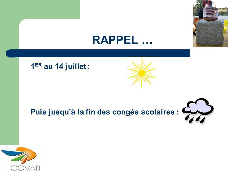 RAPPEL … 1 ER au 14 juillet : Puis jusquà la fin des congés scolaires :