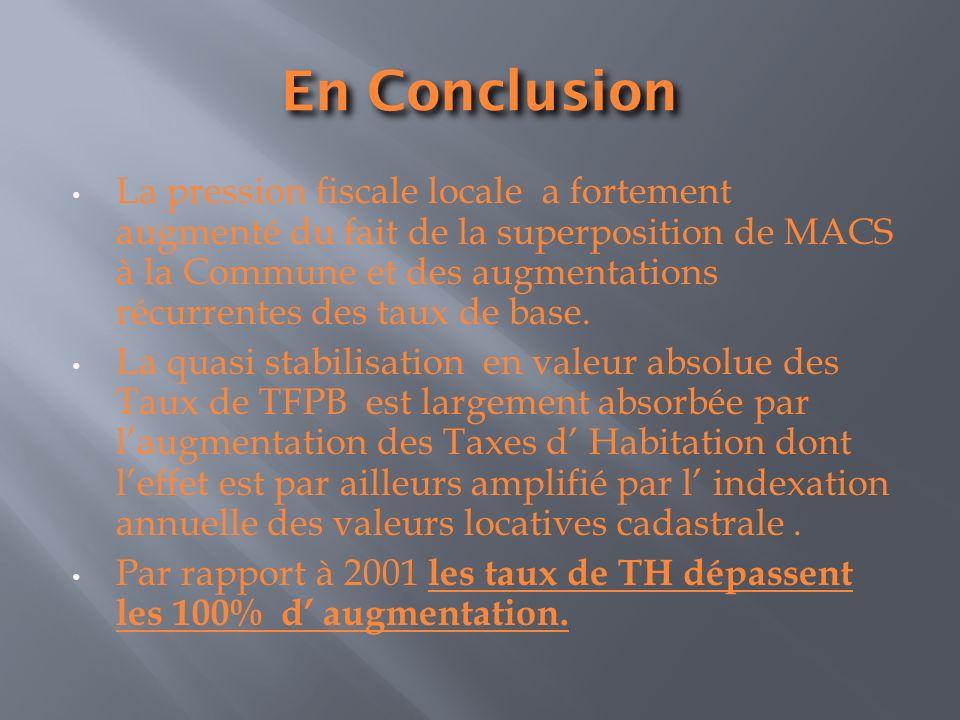 En Conclusion La pression fiscale locale a fortement augmenté du fait de la superposition de MACS à la Commune et des augmentations récurrentes des taux de base.