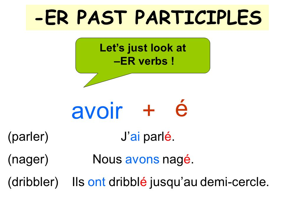 -ER PAST PARTICIPLES é Lets just look at –ER verbs .