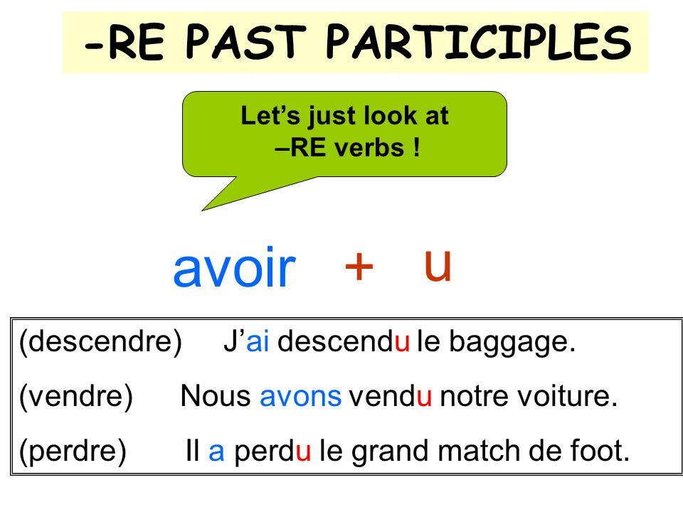 -RE PAST PARTICIPLES u Lets just look at –RE verbs ! avoir + (descendre) Jai descendu le baggage. (vendre) Nous avons vendu notre voiture. (perdre) Il