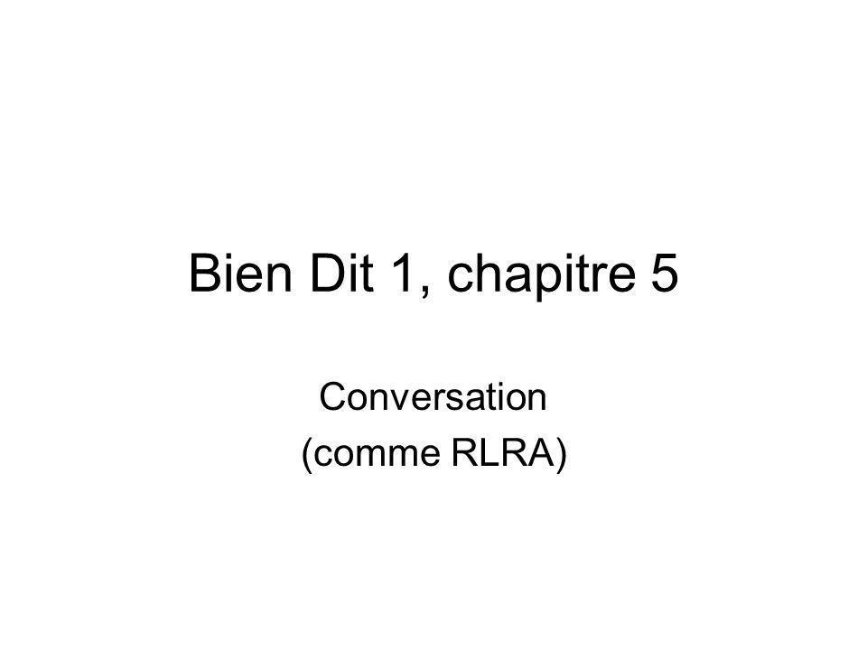 Bien Dit 1, chapitre 5 Conversation (comme RLRA)