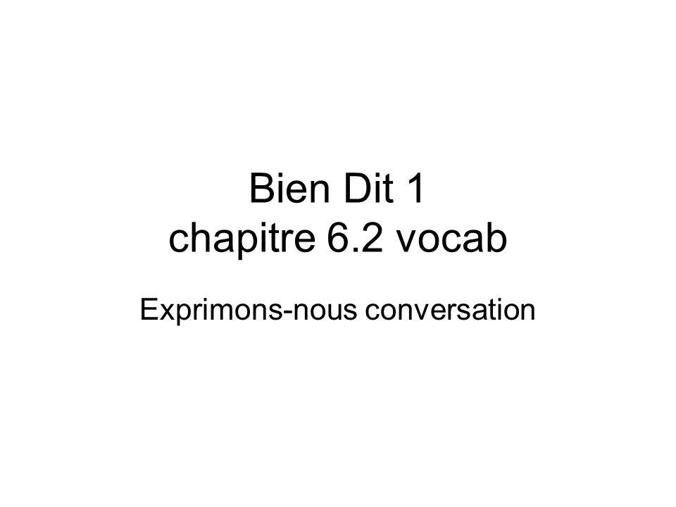 Bien Dit 1 chapitre 6.2 vocab Exprimons-nous conversation