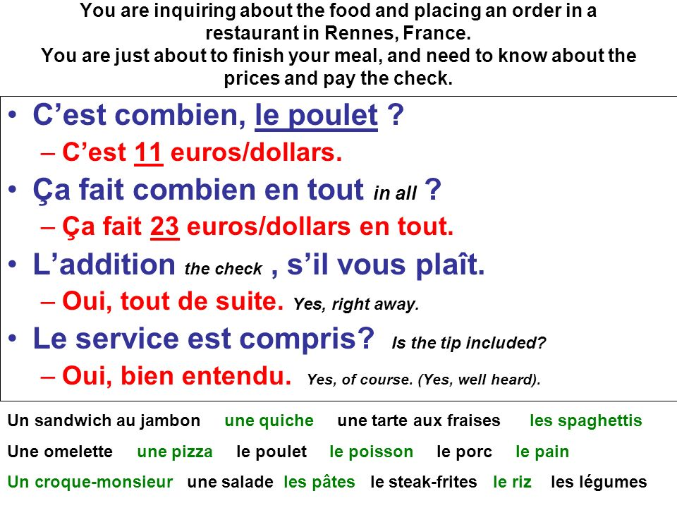 You are inquiring about the food and placing an order in a restaurant in Rennes, France.