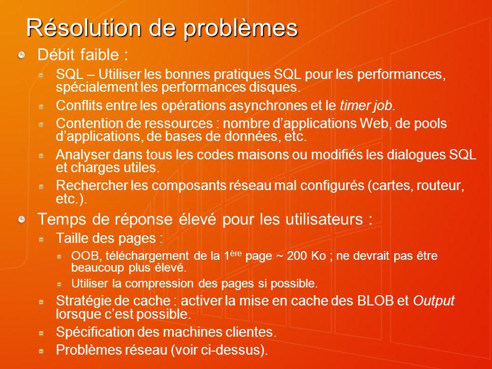 Résolution de problèmes Débit faible : SQL – Utiliser les bonnes pratiques SQL pour les performances, spécialement les performances disques. Conflits