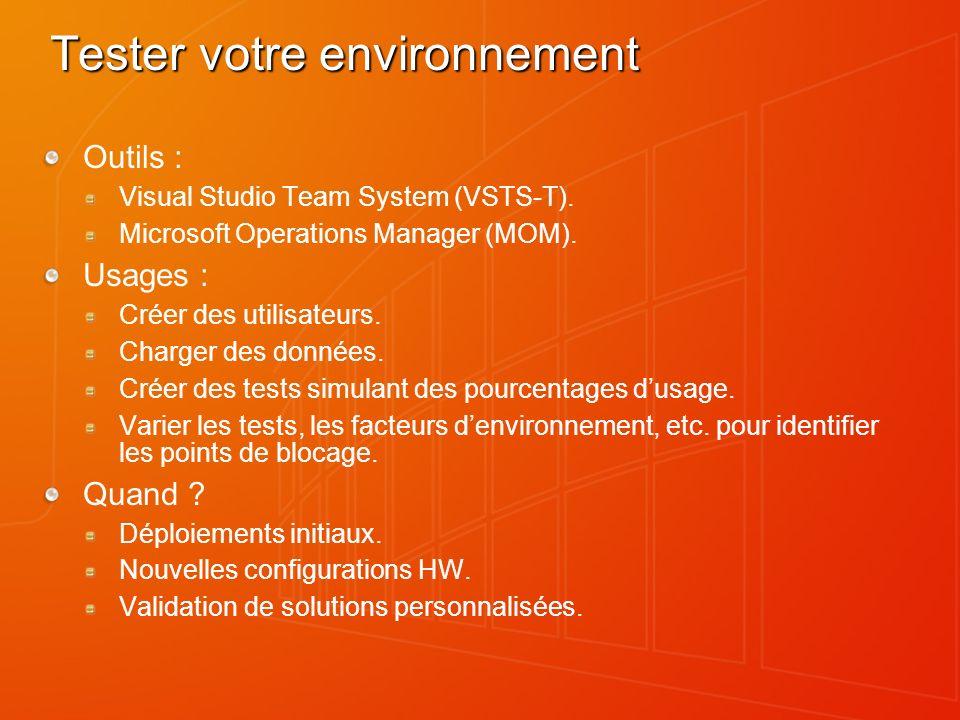 Tester votre environnement Outils : Visual Studio Team System (VSTS-T). Microsoft Operations Manager (MOM). Usages : Créer des utilisateurs. Charger d