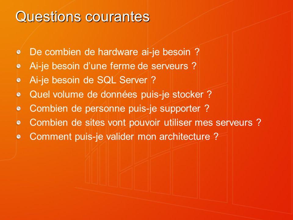 Questions courantes De combien de hardware ai-je besoin ? Ai-je besoin dune ferme de serveurs ? Ai-je besoin de SQL Server ? Quel volume de données pu