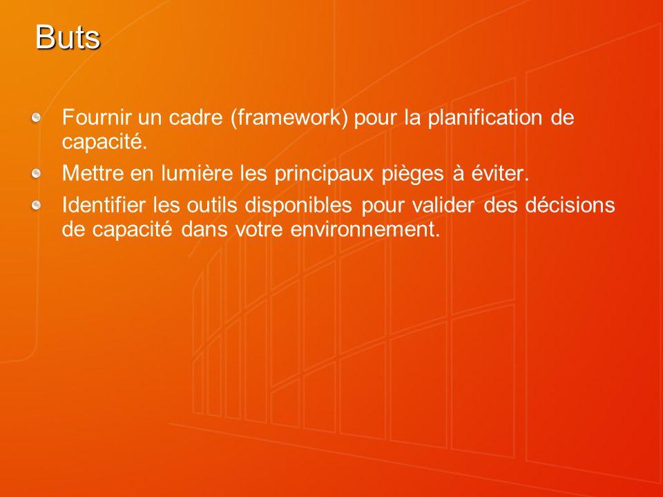 Buts Fournir un cadre (framework) pour la planification de capacité. Mettre en lumière les principaux pièges à éviter. Identifier les outils disponibl