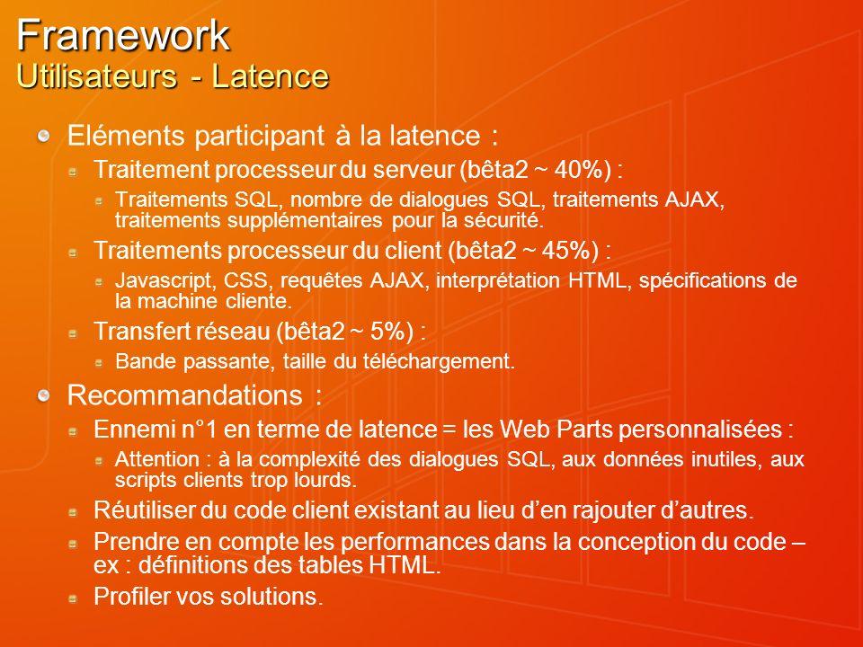 Framework Utilisateurs - Latence Eléments participant à la latence : Traitement processeur du serveur (bêta2 ~ 40%) : Traitements SQL, nombre de dialo