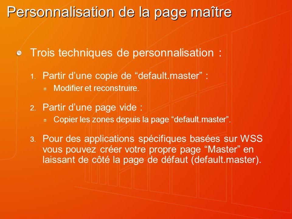 Personnalisation de la page maître Trois techniques de personnalisation : Partir dune copie de default.master : Modifier et reconstruire. Partir dune