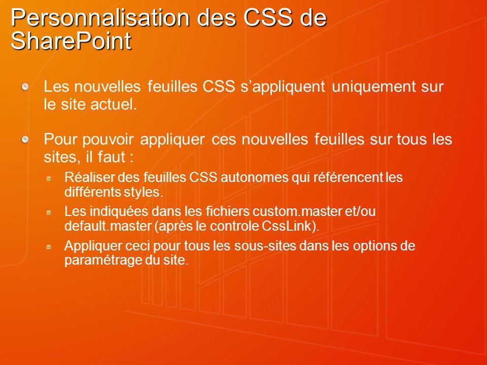 Personnalisation des CSS de SharePoint Les nouvelles feuilles CSS sappliquent uniquement sur le site actuel. Pour pouvoir appliquer ces nouvelles feui