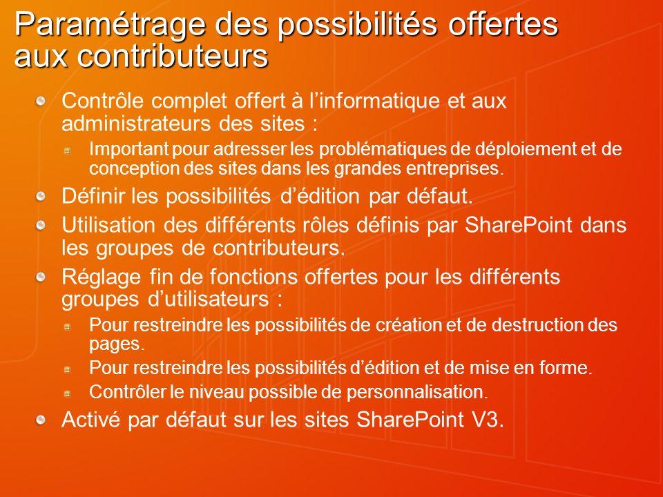 Paramétrage des possibilités offertes aux contributeurs Contrôle complet offert à linformatique et aux administrateurs des sites : Important pour adre
