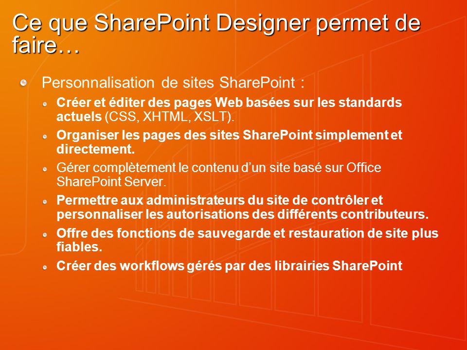 Ce que SharePoint Designer permet de faire… Personnalisation de sites SharePoint : Créer et éditer des pages Web basées sur les standards actuels (CSS