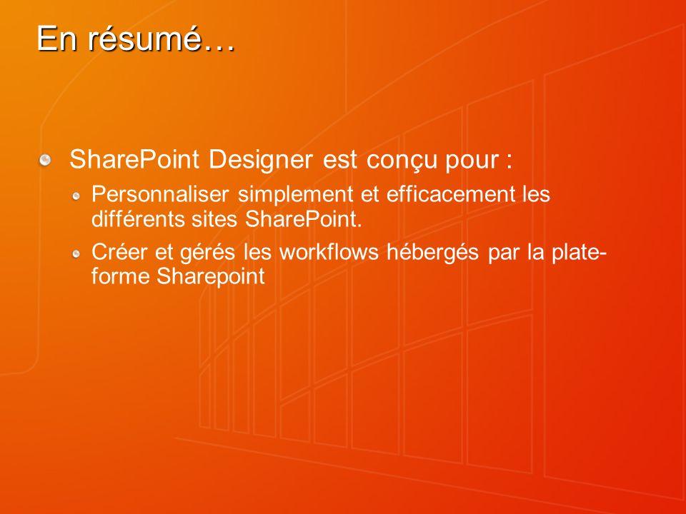 En résumé… SharePoint Designer est conçu pour : Personnaliser simplement et efficacement les différents sites SharePoint. Créer et gérés les workflows
