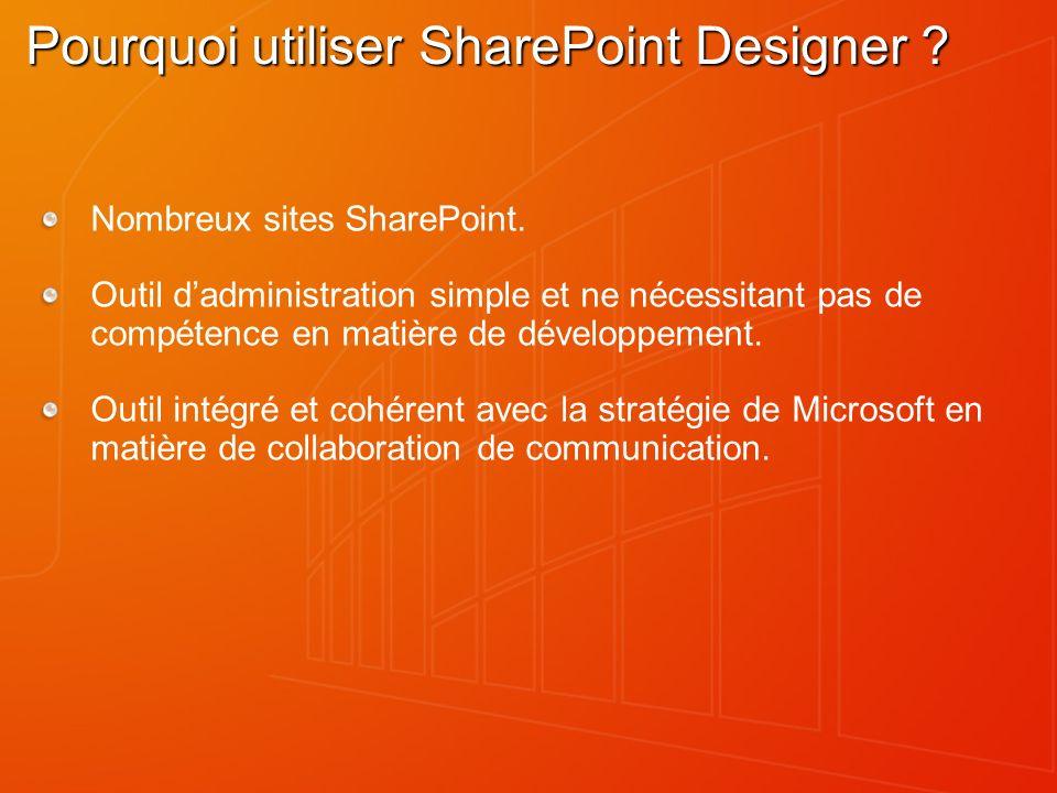Pourquoi utiliser SharePoint Designer ? Nombreux sites SharePoint. Outil dadministration simple et ne nécessitant pas de compétence en matière de déve