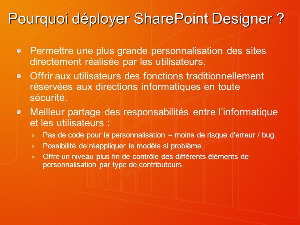 Pourquoi déployer SharePoint Designer ? Permettre une plus grande personnalisation des sites directement réalisée par les utilisateurs. Offrir aux uti