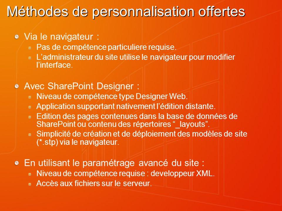 Méthodes de personnalisation offertes Via le navigateur : Pas de compétence particuliere requise. Ladministrateur du site utilise le navigateur pour m