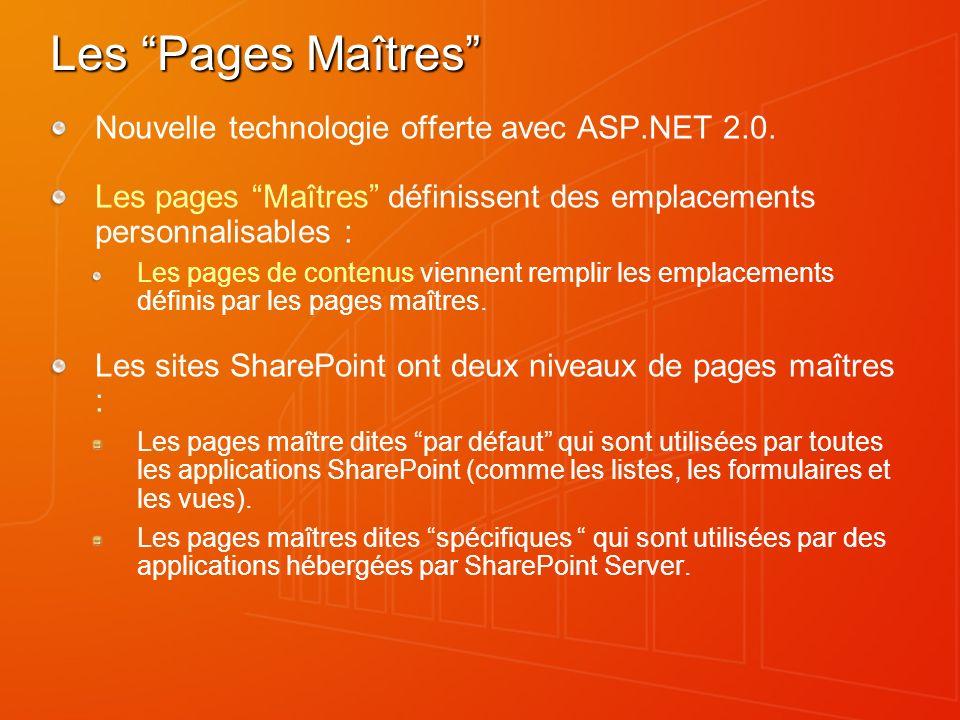 Les Pages Maîtres Nouvelle technologie offerte avec ASP.NET 2.0. Les pages Maîtres définissent des emplacements personnalisables : Les pages de conten