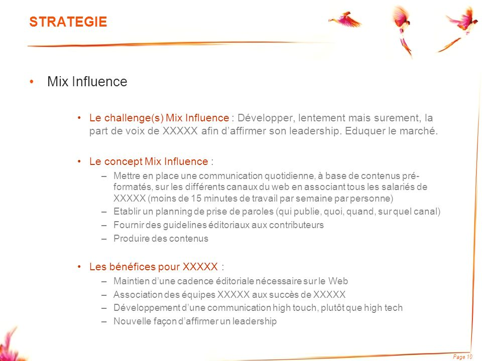 Page 10 STRATEGIE Mix Influence Le challenge(s) Mix Influence : Développer, lentement mais surement, la part de voix de XXXXX afin daffirmer son leade