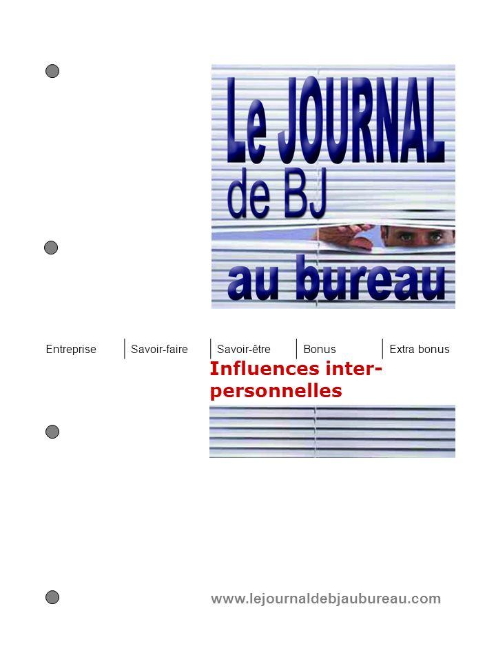 Influences inter- personnelles www.lejournaldebjaubureau.com EntrepriseSavoir-faireSavoir-êtreBonusExtra bonus