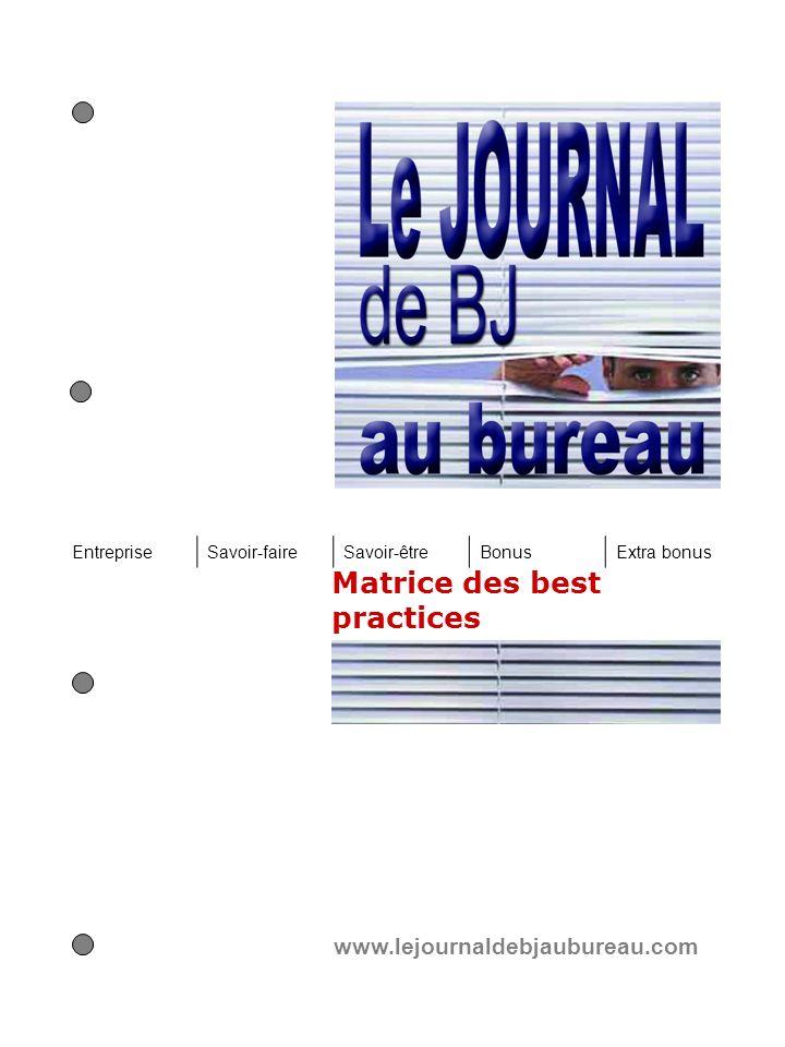 Matrice des best practices www.lejournaldebjaubureau.com EntrepriseSavoir-faireSavoir-êtreBonusExtra bonus