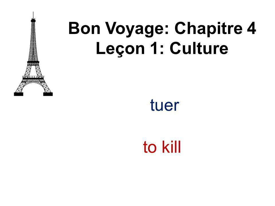 tuer Bon Voyage: Chapitre 4 Leçon 1: Culture to kill