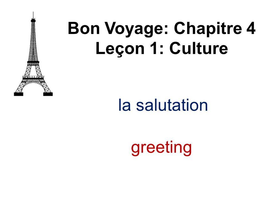 la salutation Bon Voyage: Chapitre 4 Leçon 1: Culture greeting