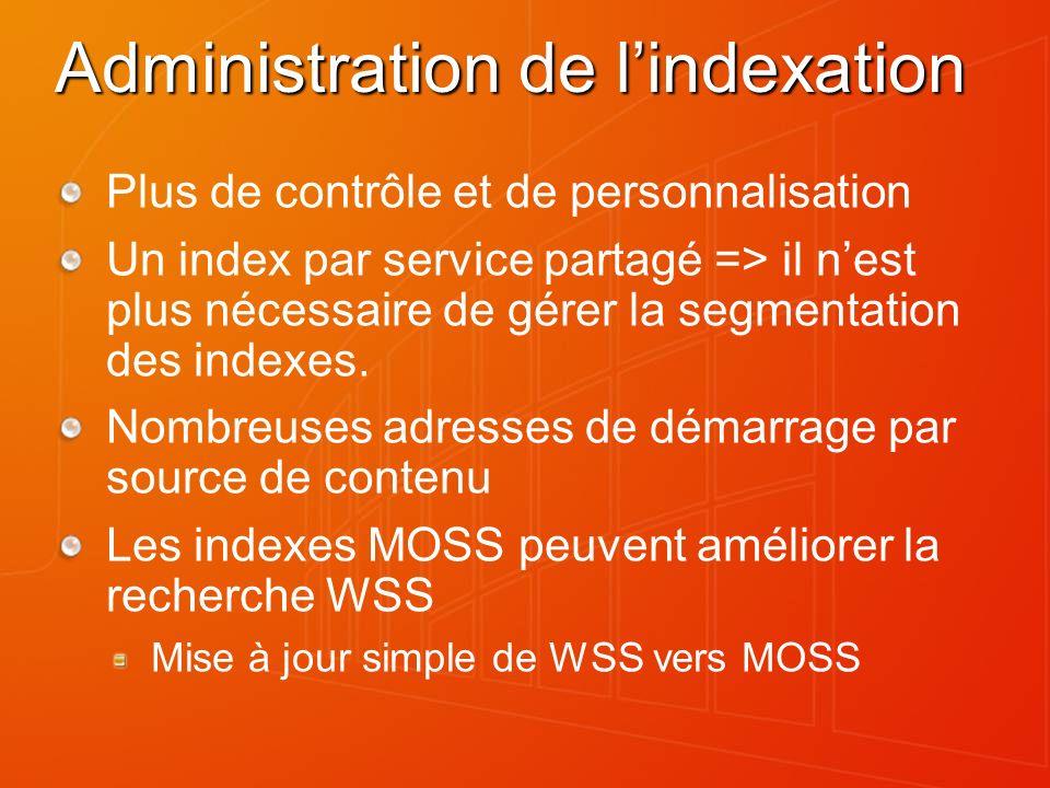 Administration de lindexation Plus de contrôle et de personnalisation Un index par service partagé => il nest plus nécessaire de gérer la segmentation des indexes.