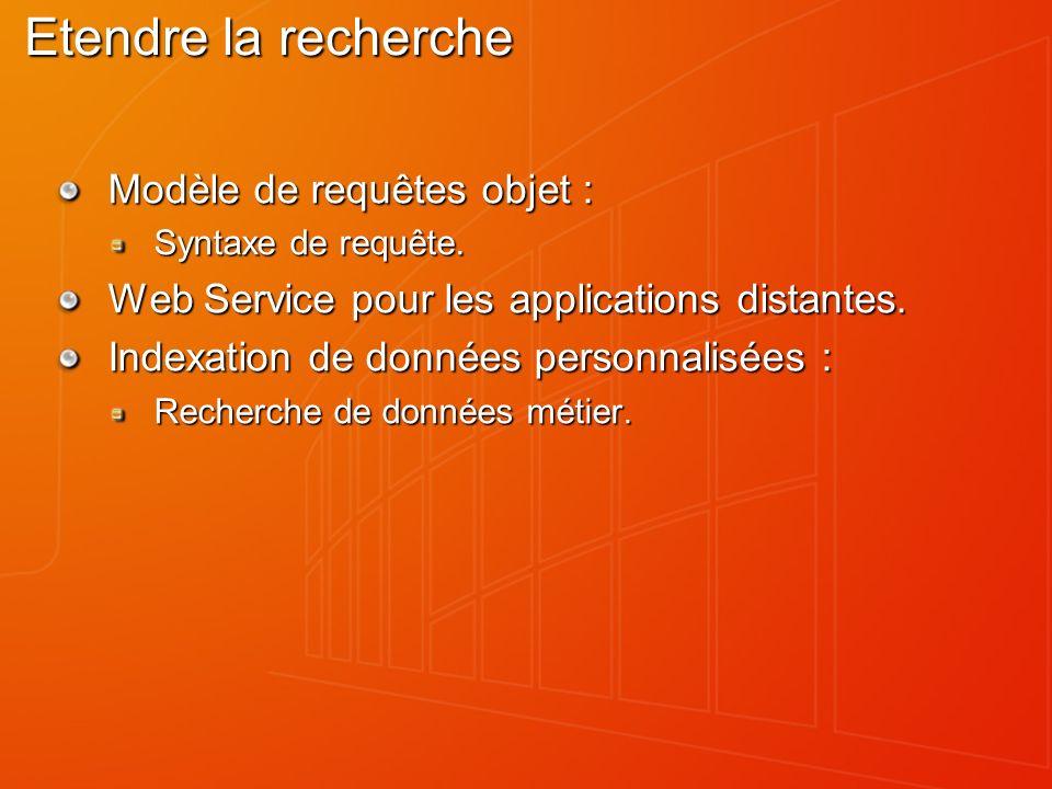 Etendre la recherche Modèle de requêtes objet : Syntaxe de requête.