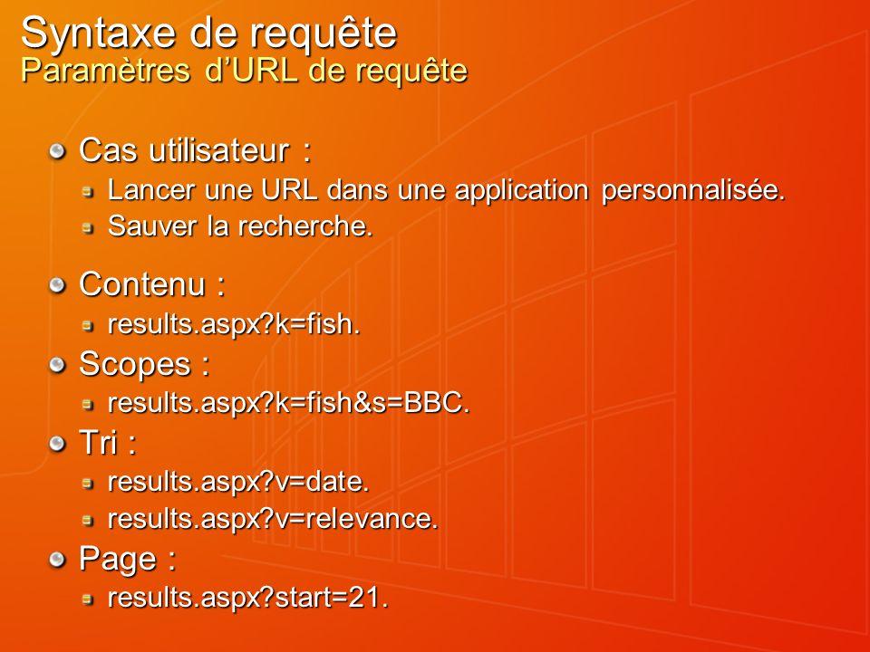 Syntaxe de requête Paramètres dURL de requête Cas utilisateur : Lancer une URL dans une application personnalisée.