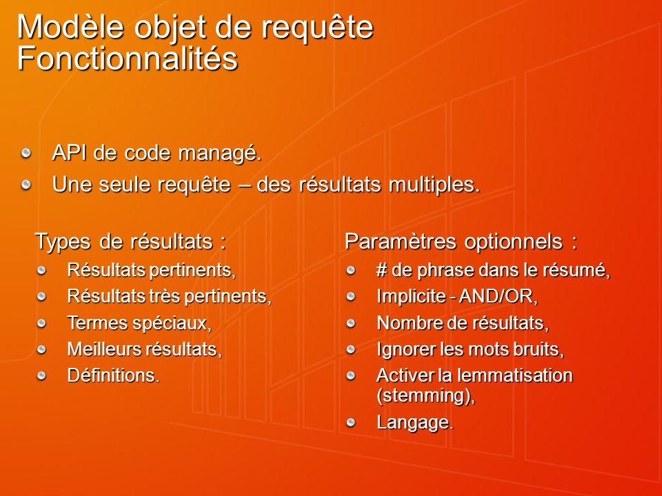 Modèle objet de requête Fonctionnalités API de code managé.