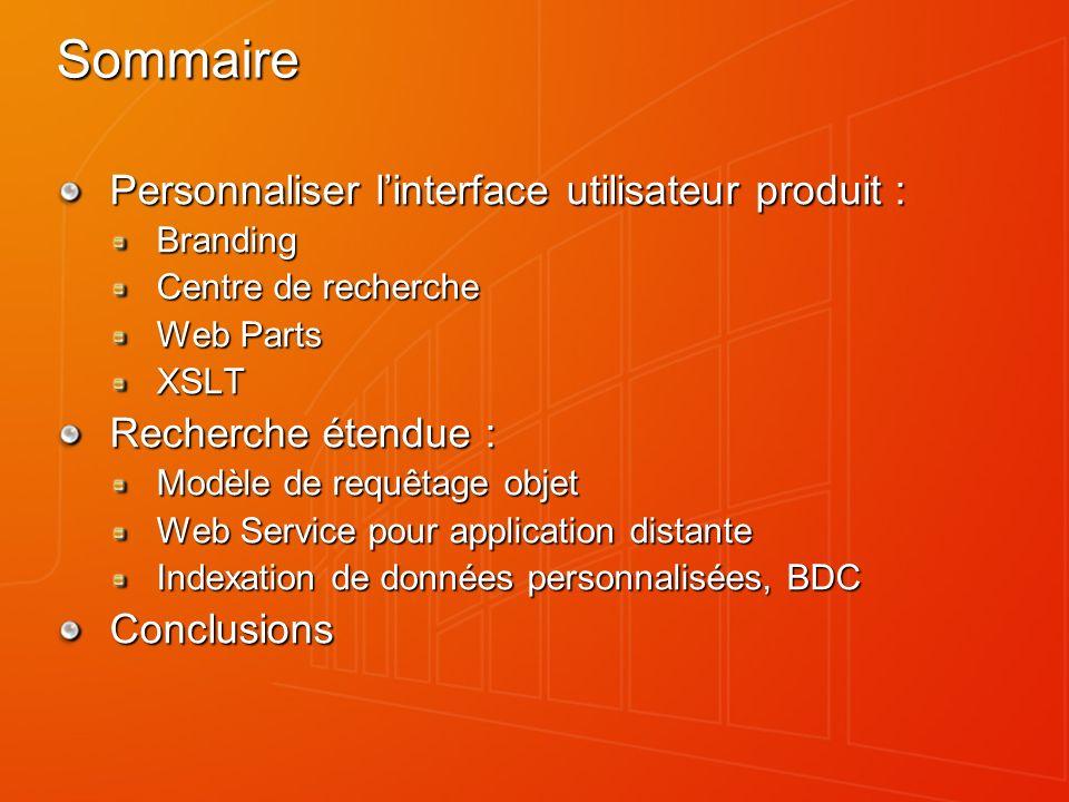 Sommaire Personnaliser linterface utilisateur produit : Branding Centre de recherche Web Parts XSLT Recherche étendue : Modèle de requêtage objet Web Service pour application distante Indexation de données personnalisées, BDC Conclusions