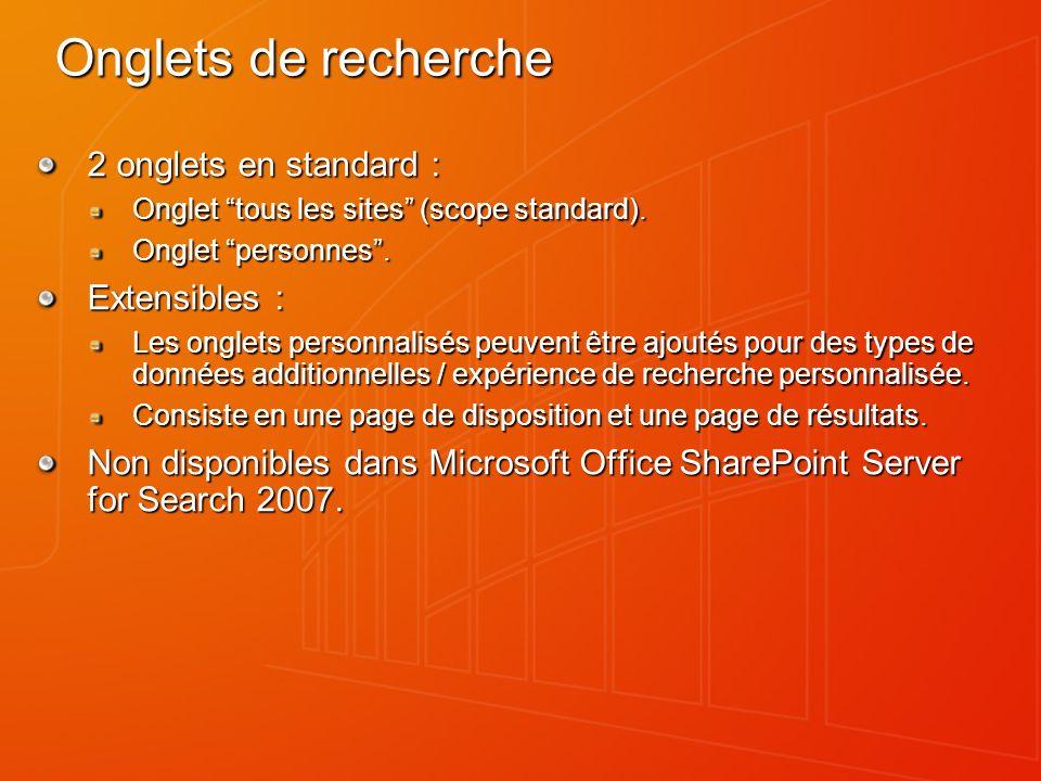 Onglets de recherche 2 onglets en standard : Onglet tous les sites (scope standard).