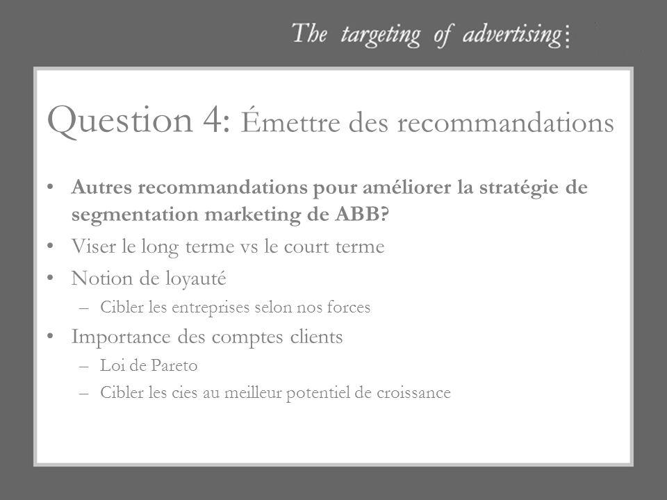 Question 4: Émettre des recommandations Autres recommandations pour améliorer la stratégie de segmentation marketing de ABB? Viser le long terme vs le