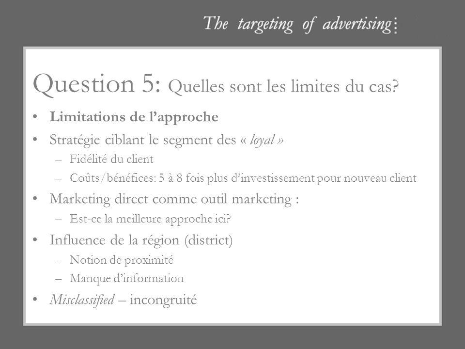 Question 5: Quelles sont les limites du cas? Limitations de lapproche Stratégie ciblant le segment des « loyal » –Fidélité du client –Coûts/bénéfices: