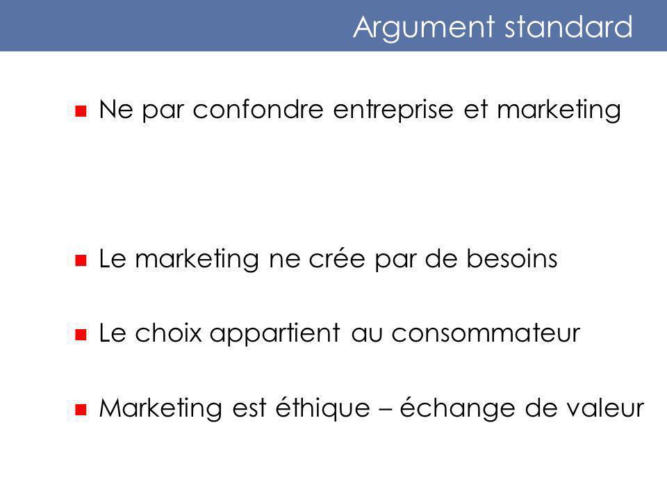 Argument standard Ne par confondre entreprise et marketing Le marketing ne crée par de besoins Le choix appartient au consommateur Marketing est éthique – échange de valeur