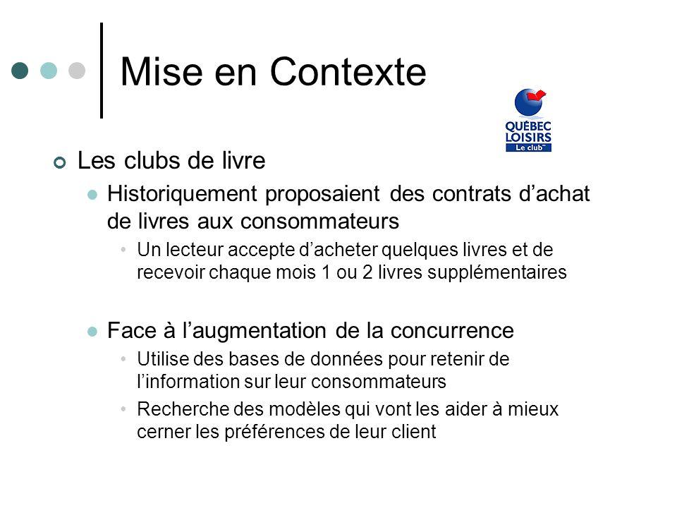 Mise en Contexte Les clubs de livre Historiquement proposaient des contrats dachat de livres aux consommateurs Un lecteur accepte dacheter quelques li