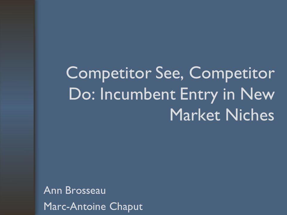 Conclusion Implications: –La présence dun Incumbent sur le marché innovateur ne découragera pas nécessairement lentré de compétiteurs; –Les attentes dune augmentation de la compétition influence le moment optimal dentré sur le marché des Incumbents.
