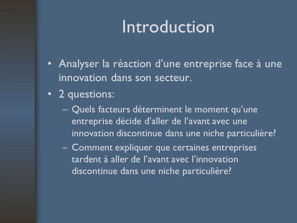 Introduction Analyser la réaction dune entreprise face à une innovation dans son secteur. 2 questions: –Quels facteurs déterminent le moment quune ent