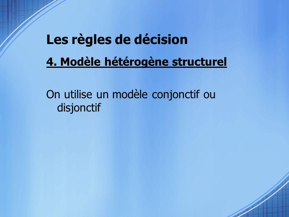 4. Modèle hétérogène structurel On utilise un modèle conjonctif ou disjonctif Les règles de décision