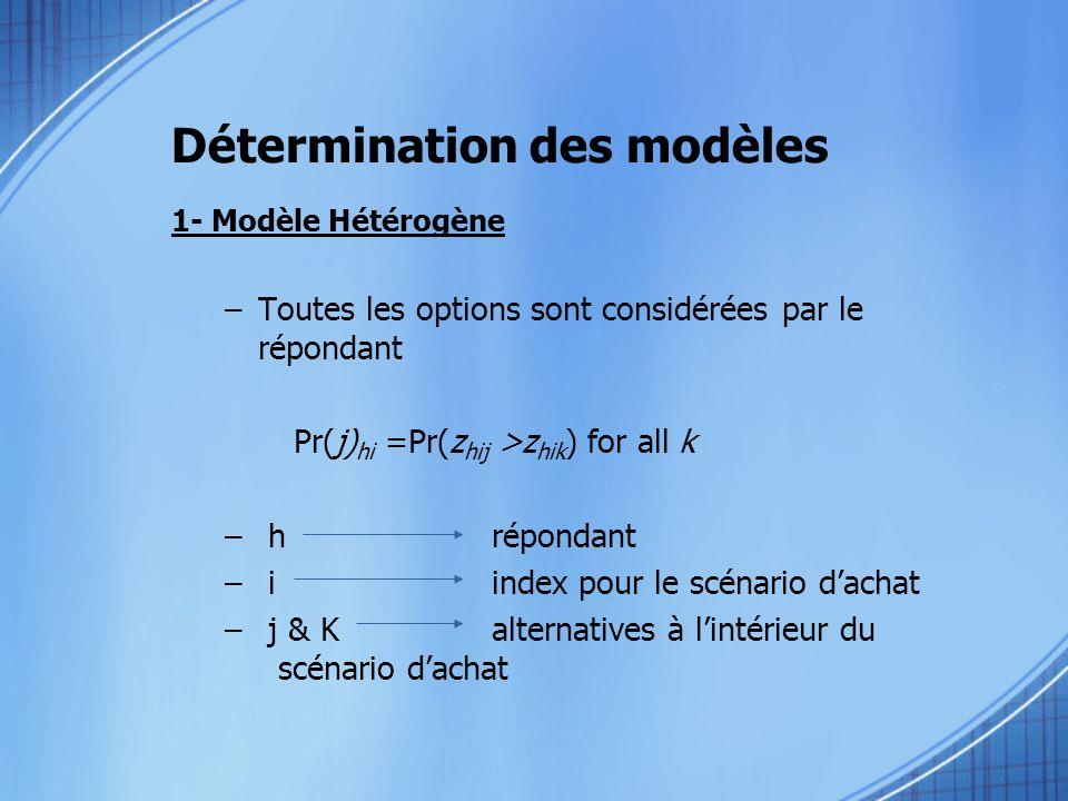 Détermination des modèles 1- Modèle Hétérogène –Toutes les options sont considérées par le répondant Pr(j) hi =Pr(z hij >z hik ) for all k – hrépondan