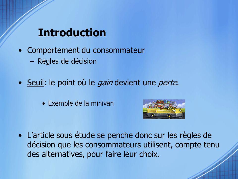 Introduction Comportement du consommateur –Règles de décision Seuil: le point où le gain devient une perte. Exemple de la minivan Larticle sous étude