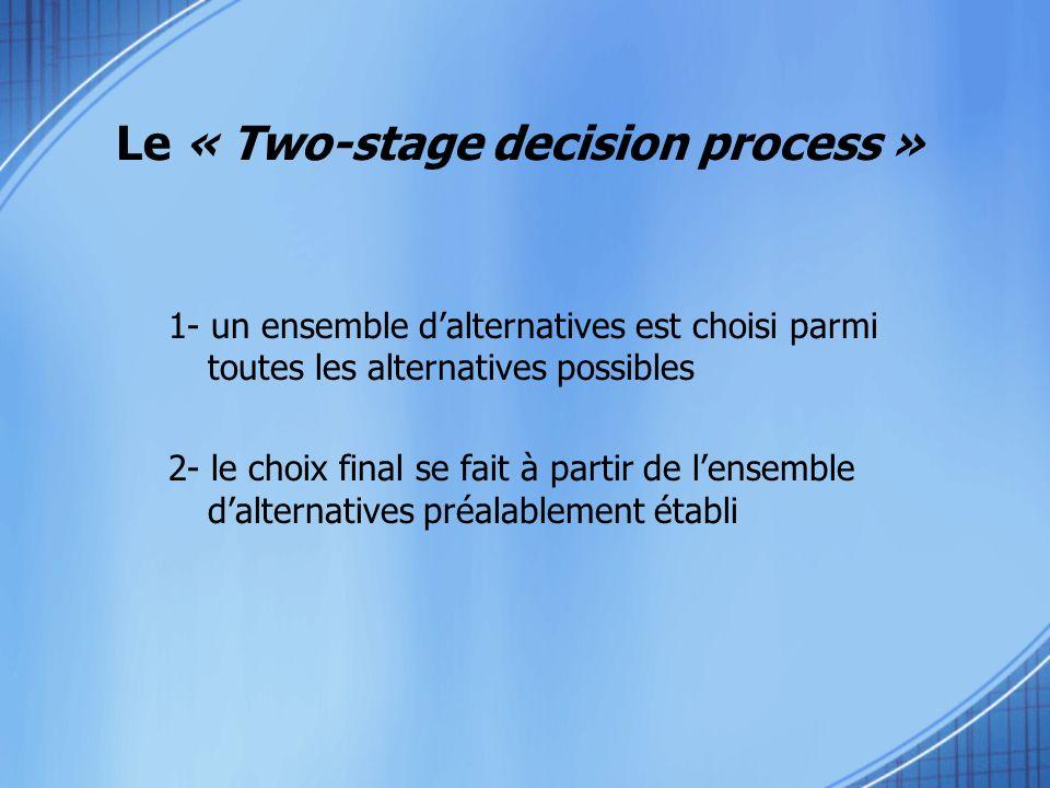 Détermination des modèles 1- Modèle Hétérogène –Toutes les options sont considérées par le répondant Pr(j) hi =Pr(z hij >z hik ) for all k – hrépondant – i index pour le scénario dachat – j & K alternatives à lintérieur du scénario dachat