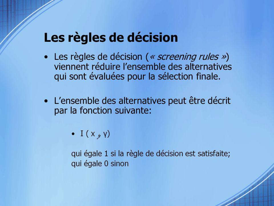 Détermination des modèles 2- Modèle compensatoire –Lensemble de considération comprend que les alternatives qui ont une valeur dutilité (V hi =X hi β h ) supérieure au seuil fixé у h pour un attribut en particulier.