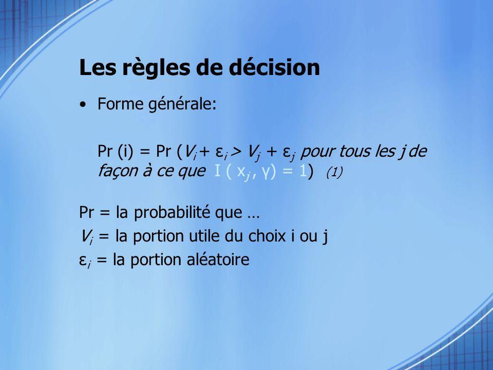 Forme générale: Pr (i) = Pr (V i + ε i > V j + ε j pour tous les j de façon à ce que I ( x j, γ) = 1) (1) Pr = la probabilité que … V i = la portion u