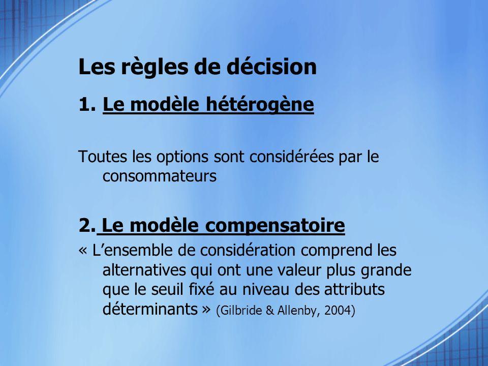1.Le modèle hétérogène Toutes les options sont considérées par le consommateurs 2. Le modèle compensatoire « Lensemble de considération comprend les a