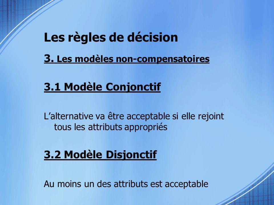 3. Les modèles non-compensatoires 3.1 Modèle Conjonctif Lalternative va être acceptable si elle rejoint tous les attributs appropriés 3.2 Modèle Disjo