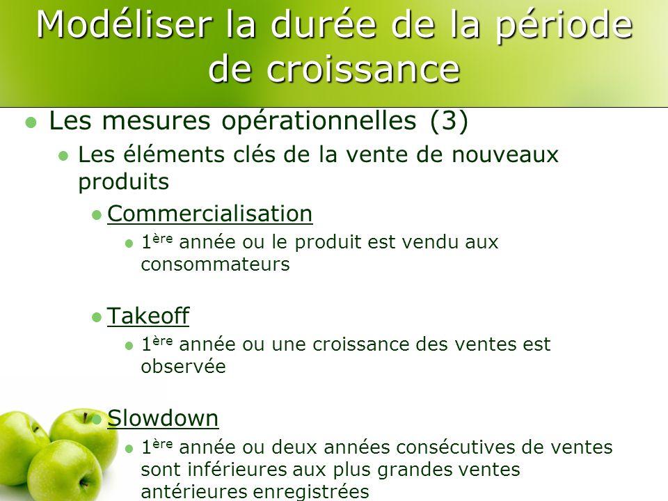 Les mesures opérationnelles (3) Les éléments clés de la vente de nouveaux produits Commercialisation 1 ère année ou le produit est vendu aux consommat